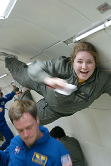 Smith floats during a reduced-gravity flight