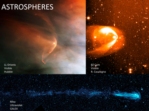 Photographs of the heliospheres around other stars (called astrospheres) taken by a variety of telescopes.