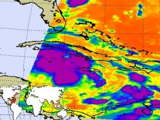 TD 16's cloud temperatures was captured on Sept. 28 at 0635 UTC by the AIRS instrument on NASA's Aqua satellite.