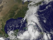 Tropical Storm Nicole's the extensive cloud cover extending north into the Mid-Atlantic U.S. states.