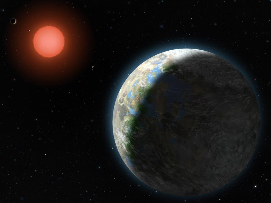 Artist's conception of the Gliese 581 system by Lynette Cook, via NASA