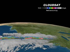 The CloudSat image captured areas of light cumulus precipitation mixed with a stream of mid- level cloudiness.