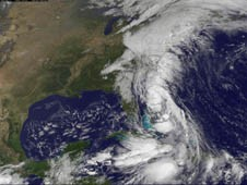 GOES captured a visible image of the extensive cloud cover of the trough all along the U.S. East coast on Sept. 30.