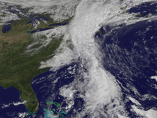 visible image of the extensive cloud cover of the coupled system of an upper level low and Nicole remnants