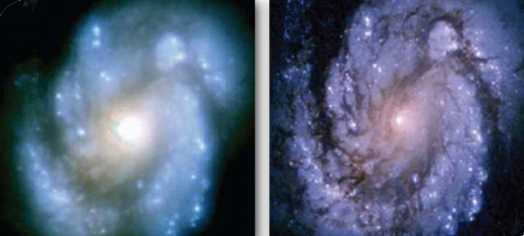 Before and after photos of a spiral galaxy; right image improved by MGS software