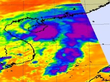 AIRS revealed a concentrated area of thunderstorms and strong convection (purple) around TD14W's center.