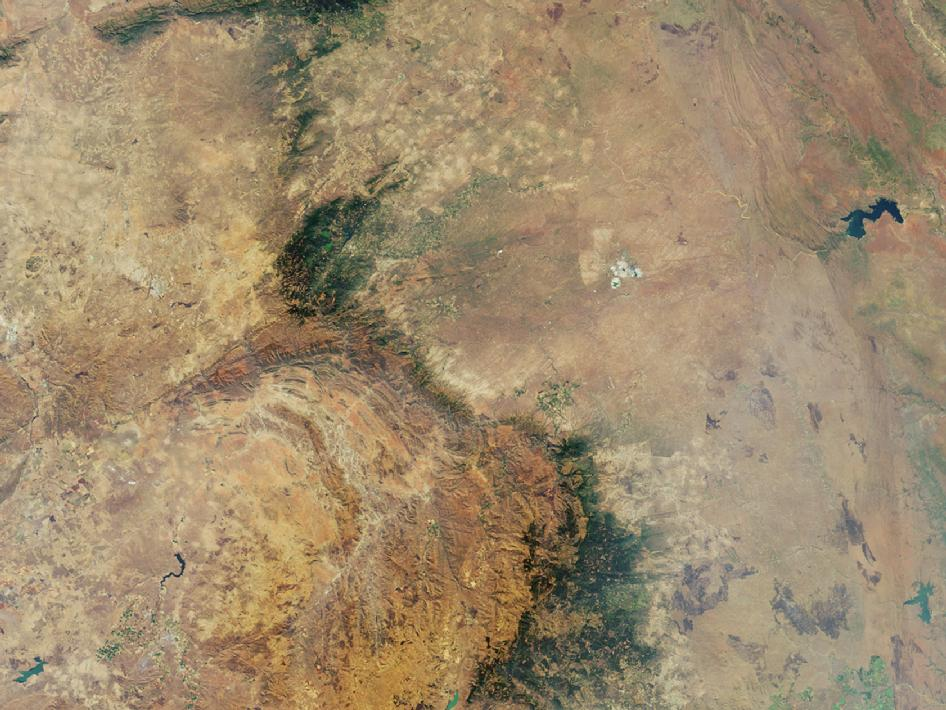 Downward-looking camera view of the area around Kruger National Park in northeastern South Africa
