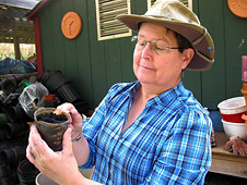 Master gardener Carol King holds a pot of biochar soil mix.