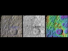 three enhanced-color views of an equatorial region on Saturn's moon Rhea
