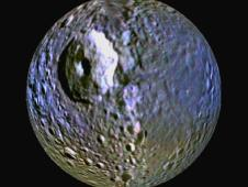 enhanced-color view of Saturn's moon Mimas