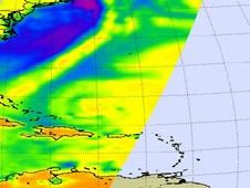 Otto is seen as the rounded area in the bottom center of this AIRS microwave image.