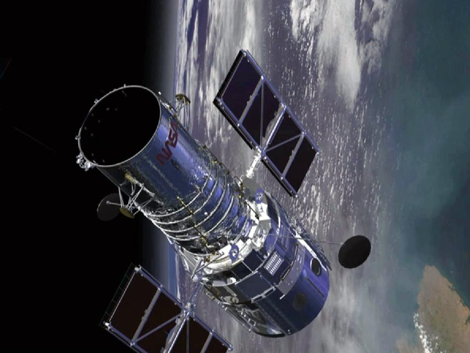 Artist's concept of the Hubble Space Telescope over Earth.