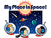 Cartoon of three children in space helmets looking into space