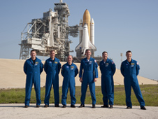 STS-132 crew poses for a group portrait
