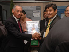 NASA Administrator Charles Bolden, left, is welcomed to Nepal by Basanta Shrestha, division head of ICIMOD.