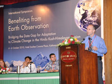 Dan Irwin, SERVIR project director at NASA�s Marshall Space Flight Center gives a presentation at the International Symposium in Kathmandu, Nepal.