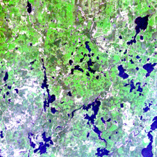 true color depiction of a small portion of a Landsat Thematic Mapper (TM) scene