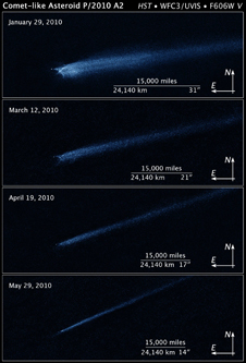 These four Hubble Space Telescope images, taken over a five-month period, show the odd-shaped debris that likely came from a collision between two asteroids.