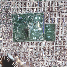 true color rendition of an Ikonos satellite image from over Patterson Park in Baltimore, MD