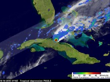 TRMM revealed heavy rainfall off the north-central Cuban coast