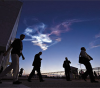 Workers leave the Launch Control Center at Kennedy Space Center after the launch of Space Shuttle Discovery (STS-131)