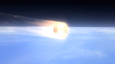 Artist rendition of the Dragon spacecraft reentering Earth's atmosphere