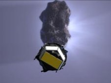 Artist concept of Deep Impact EPOXI spacecraft and its previous encounter with Comet Tempel 1.