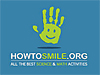 HowToSmile.Org logo featuring a green handprint with a smiley face