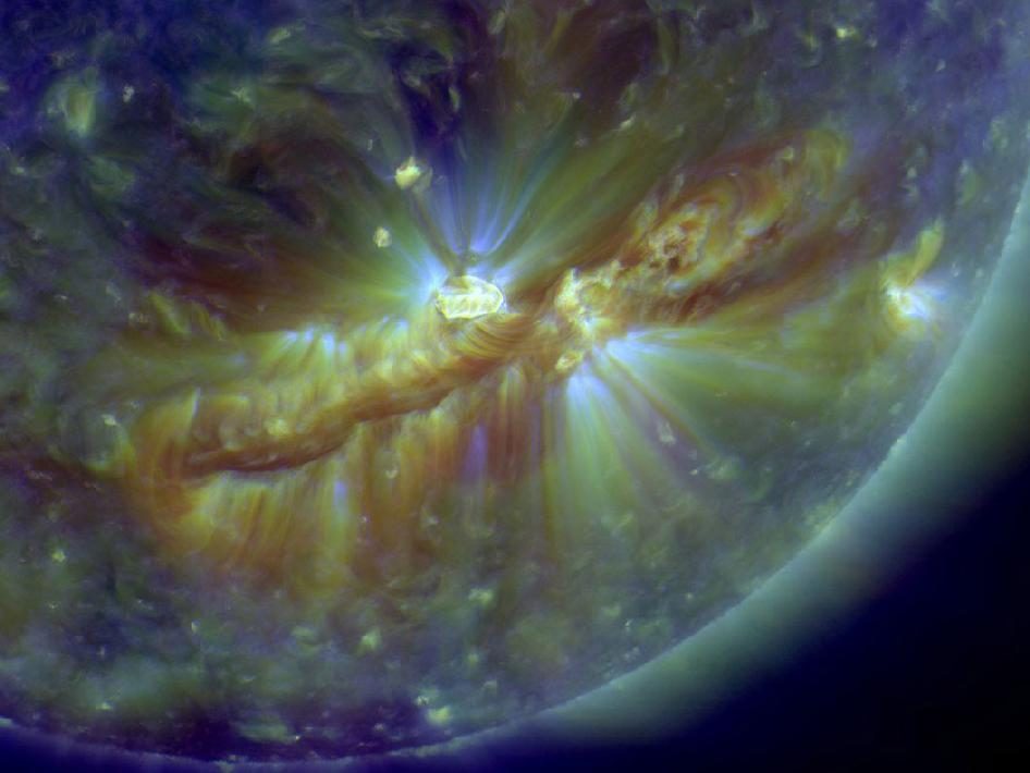 A vast filament of magnetism is cutting across the sun's southern hemisphere