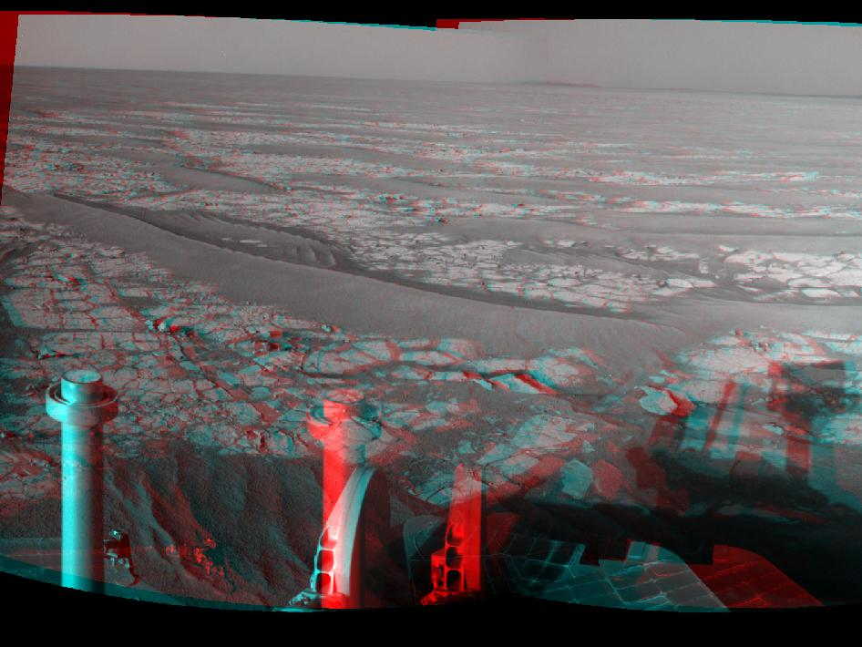 Opportunity's Eastward View After Sol 2382 Drive
