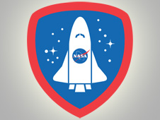 An image of the now-expired NASA Explorer badge that was earned by users of Foursquare upon check-in to NASA-related venues across the United States.Image Credit: Foursquare