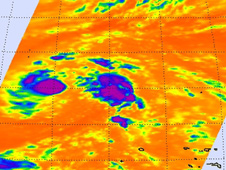 AIRS image of the small Tropical Depression 17W's cold (purple and blue) thunderstorms taken on Oct. 21