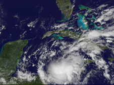Richard's clouds already over the Honduras/Nicaragua border as it heads toward Belize for landfall this weekend.