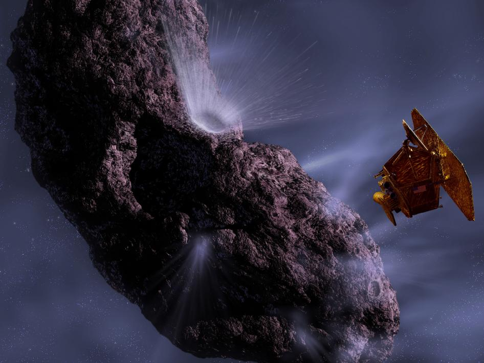 Artist's concept of Deep Impact's encounter with comet Temple 1