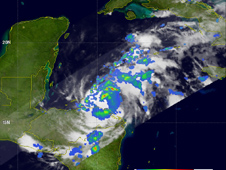 TRMM saw Richard was dropping moderate to heavy rainfall over Honduras.