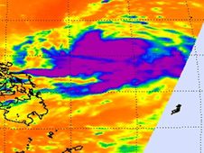 Chaba's coldest cloud tops indicated strong convection around the south and western edges of the center.