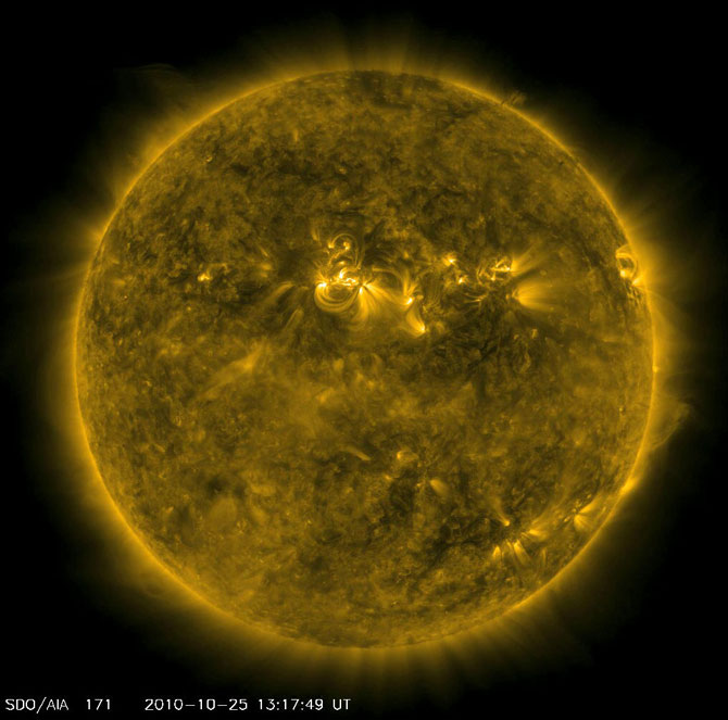 The Northern Hemisphere of the Sun is bristling with solar flares.