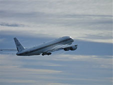 NASA's DC-8, a flying science lab, takes off from Punta Arenas, Chile on the first science flight of the Operation IceBridge Antarctic 2010 campaign.