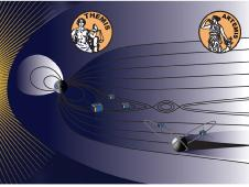 Graphic of the Earth and its magnetosphere and the five Themis spacecraft within Earth's magnetotail, showing the two now-designated Artemis craft orbiting the Moon.
