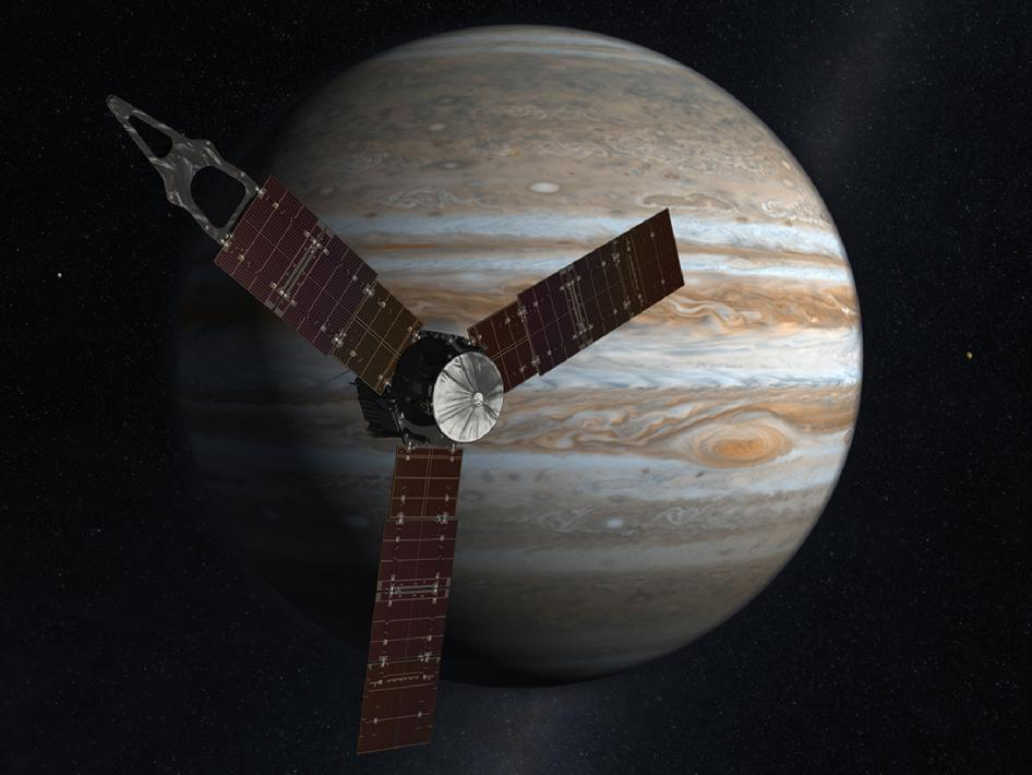Artist concept of Juno in front of Jupiter