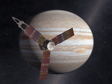 NASA's Juno spacecraft passes in front of Jupiter in this artist's depiction