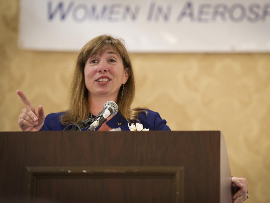 NASA Deputy Administrator Lori Garver speaks after being given the Women in Aerospace's Outstanding Member Award at the organization's annual awards ceremony and banquet held at the Ritz-Carlton Hotel in Arlington, VA on Tuesday, Oct. 26, 2010. Four current NASA leaders and one retiree were recognized for their work by Women in Aerospace. The event celebrates women's professional excellence in aerospace and honors women who have made outstanding contributions to the aerospace community.