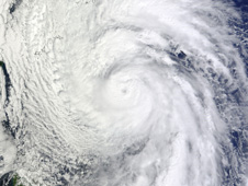 Terra satellite captured this visible image of Typhoon Chaba revealing its extensive clouds.
