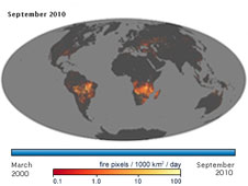 The fire maps show the locations of actively burning fires around the world on a monthly basis, based on observations from the Moderate Resolution Imaging Spectroradiometer (MODIS) on NASA's Terra satellite.