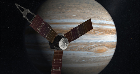 Artist concept of NASA's Juno spacecraft in front of Jupiter