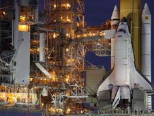 STS-133 on the launch pad.