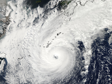 MODIS took a visible image of Typhoon Chaba centered over the Ryukyu Islands, Japan.