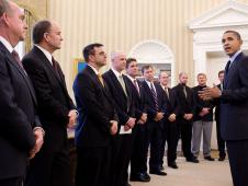 President Barack Obama meets in the Oval Office with members of the NASA team and other Americans involved in the Chilean mine rescue, October 28, 2010. From left, Dr. Michael Duncan, Dr. Albert Holland, Dr. James Polk and Dr. Clint Cragg, along with others who traveled to Chile to assist the once-trapped miners.