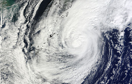 MODIS captured this visible image of Typhoon Chaba over the Ryukyu Islands, Japan