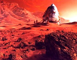Exploring Mars, a painting by Paul Hudson that shows a spacecraft and astronauts on the surface of mars.